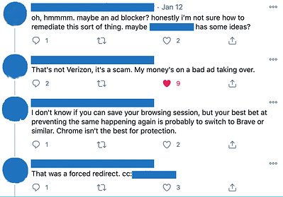 Twitter complaint about malvertising