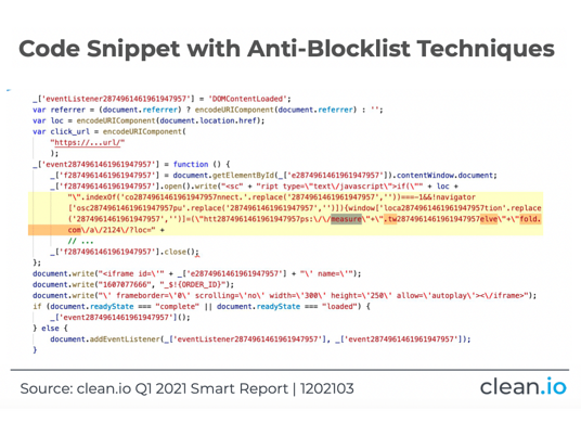 code snippet with anti-blocklist techniques